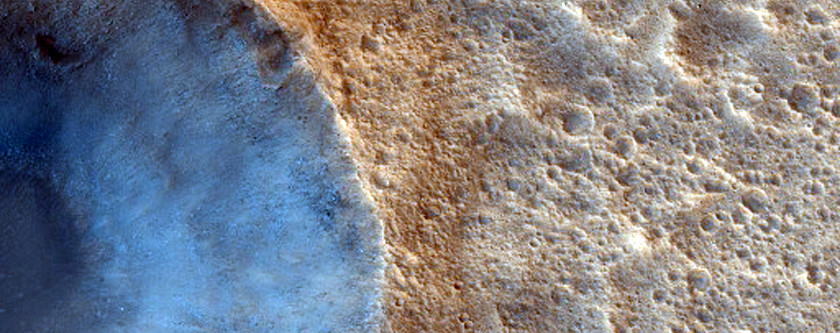 Impact Crater on Apex of Wrinkle Ridge