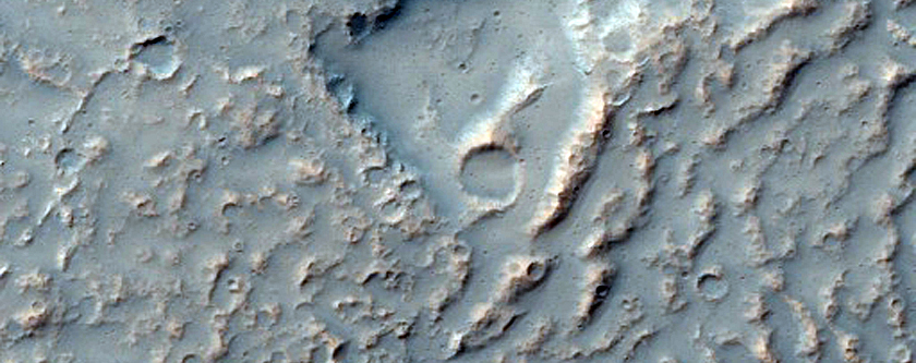 Possible Lava Flows in Daedalia Planum Embaying A Hill