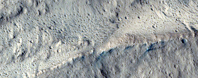 Wall Material of Fresh Amazonis Planitia Crater