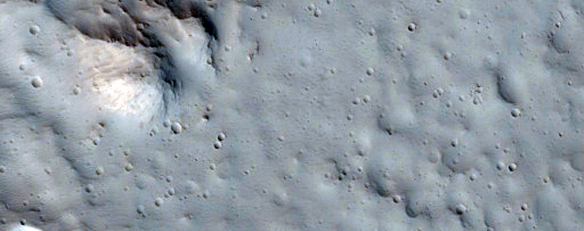 Well-Preserved Crater Near Alba Patera