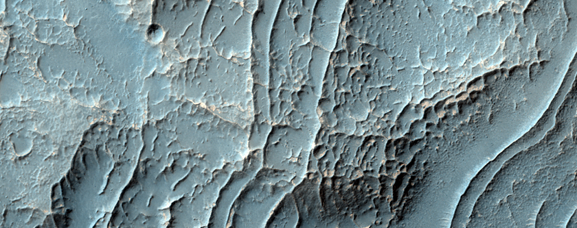 Well-Preserved Impact Crater with Ridges