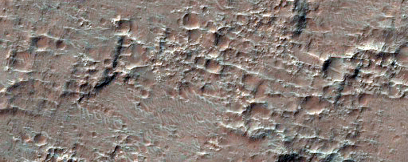 Bedrock Exposures in Crater Wall