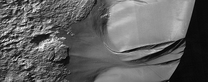 Active Dune Gullies in Kaiser Crater