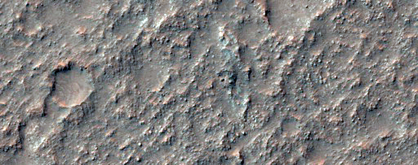 Scour from Channel on Crater Floor on South Rim of Coprates Chasma