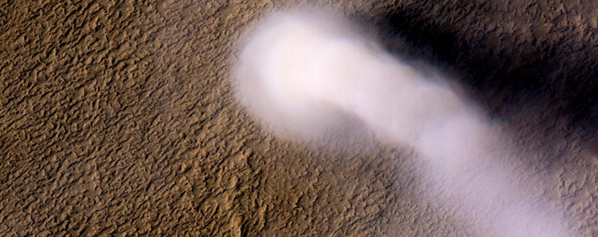 A Monster Dust Devil Stalks the Martian Landscape