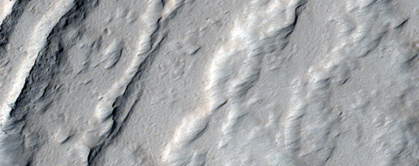 Depressions in the Northeastern Flank of Olympus Mons
