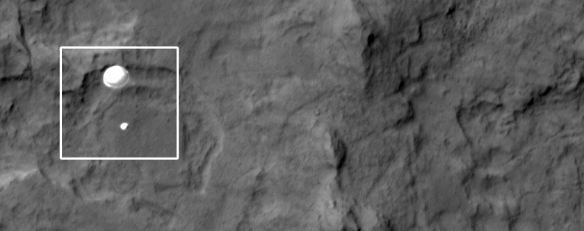 The Descent of MSL (Curiosity) Captured by HiRISE