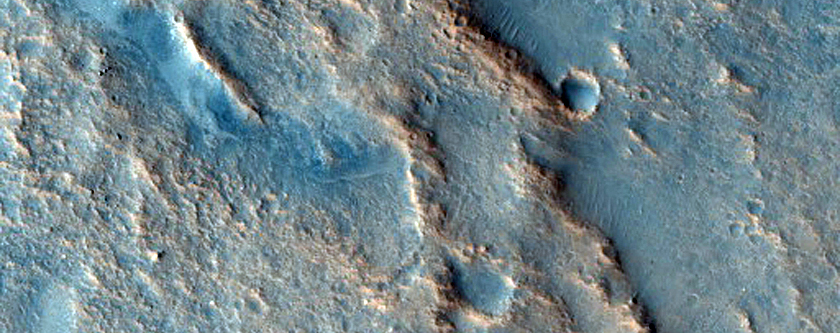 Small Crater and Wrinkle Ridge in Lobo Vallis
