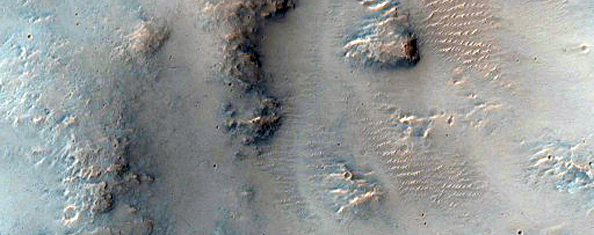 Valley and Crater Rim in Amenthes Planum