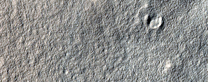 Ridges and Troughs in Crater East of Hellas Planitia