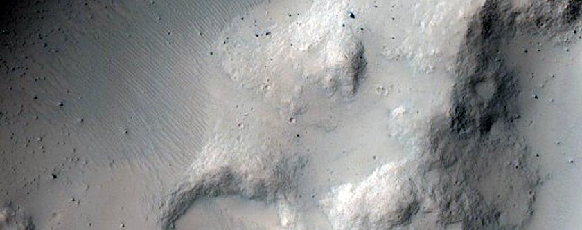 Crater with Night IR Bright Streaks