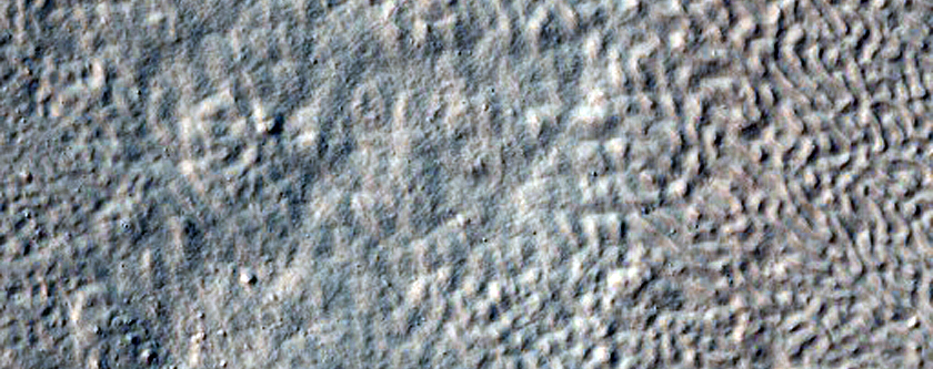 Troughs and Mounds in Crater Near Reull Vallis