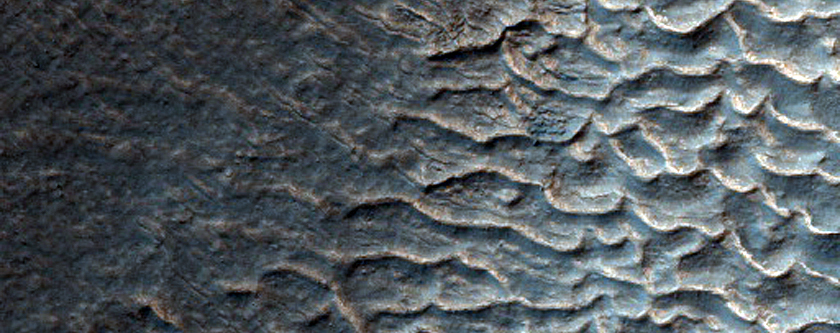 Crater with Gullies in MOC M03-02540