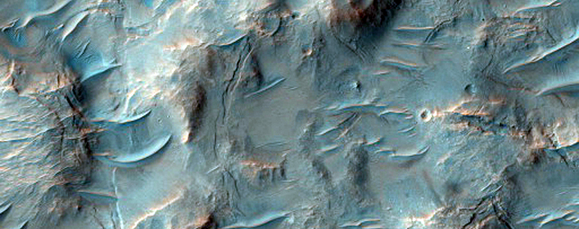 Gully with Light-Toned Material in Nirgal Vallis in MOC E11-00613