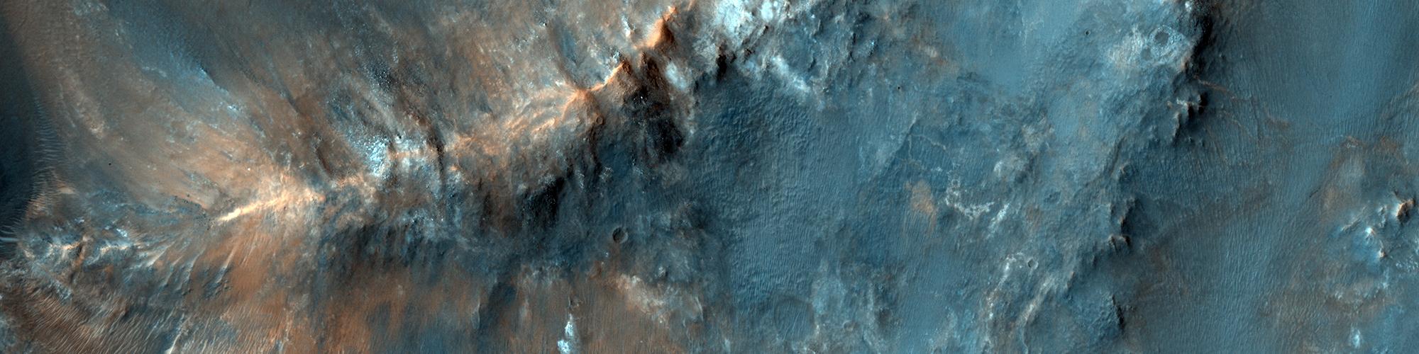 Surface colorée près de Nili Fossae