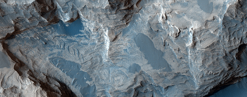Crater in Meridiani Planum with Layering