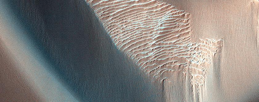 Champs de dunes contenant de l'olivine et roche encaissante dans le canyon Coprates Chasma
