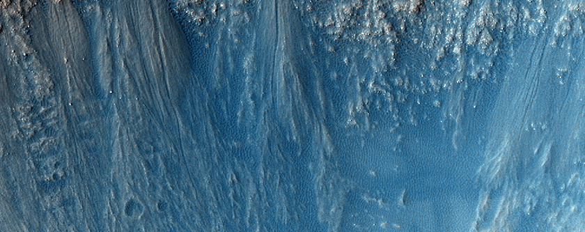Slope Features on Crater Wall in Terra Cimmeria