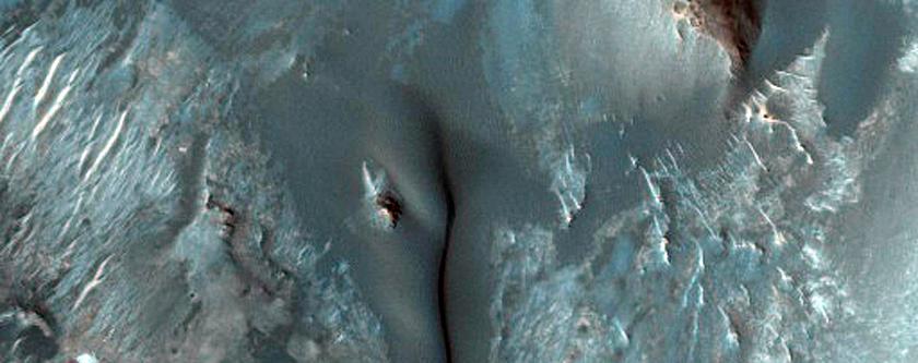 Dark Material in a Crater in the Arabia Region