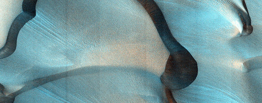West Coprates Chasma Dunes and Slip Face Streaks