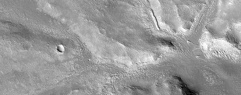 Valleys Cutting Crater Wall in Northern Arabia Terra