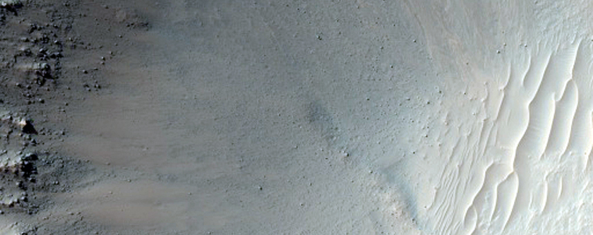 Gullies in Small Crater Near Mariner Crater