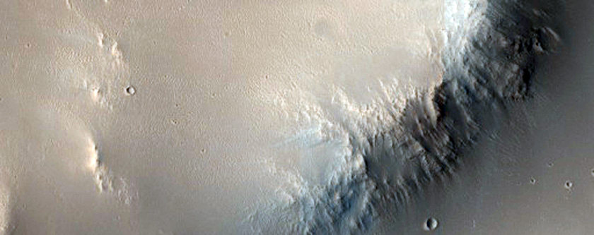 Rim and Terraced Wall of Crater in Arabia Terra