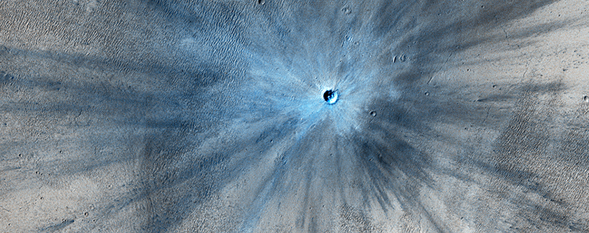 A Spectacular New Impact Crater and Its Ejecta
