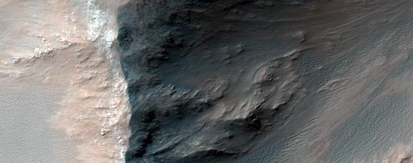 Low Albedo Slopes along Coprates Chasma Ridge