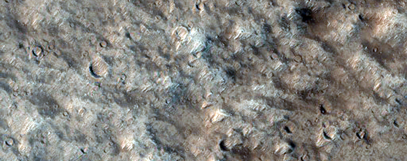 Terrain West of Impact Crater on Southern Olympus Mons Caldera