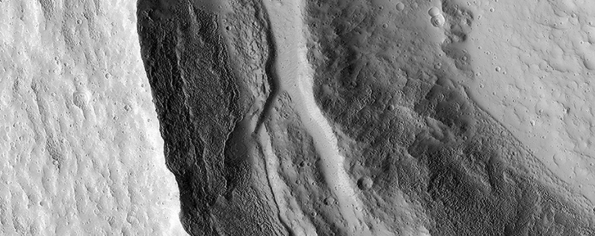 Slumping Terraces on a Crater Wall