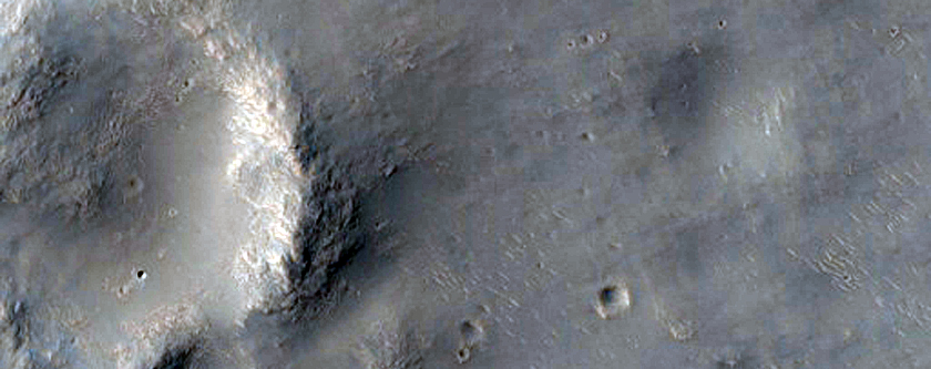 Trough Intersecting Crater Rim
