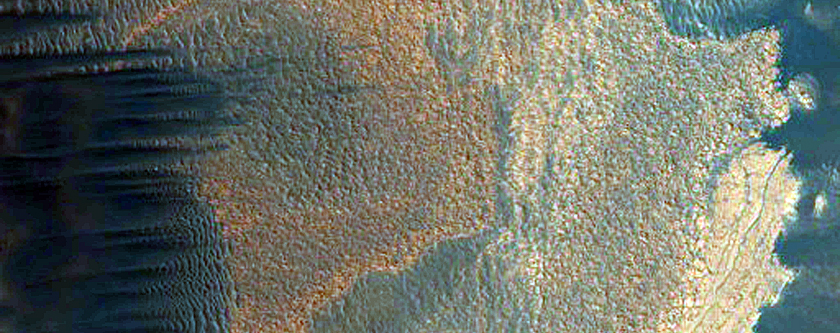 North Polar Scarp in Abalos Undae with Basal Exposure and Dunes