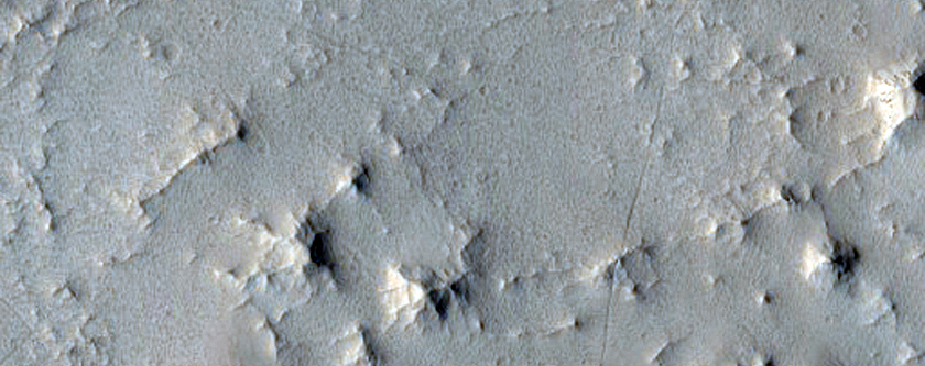 Trough and Ridges along Crater Slope