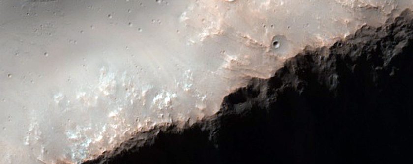 Crater and Mountain in Hesperia Planum Upland Boundary Area