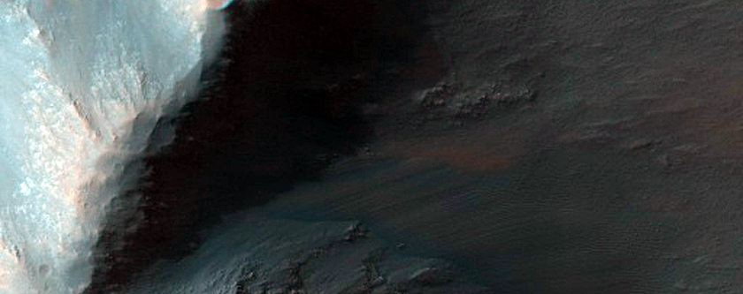 Low Albedo Wall Spurs and Crest of Coprates Chasma Ridge