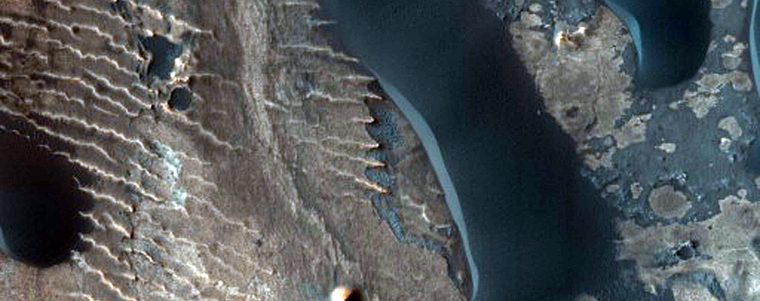 Arabia Terra Stair-Stepped Hills and Dark Dunes