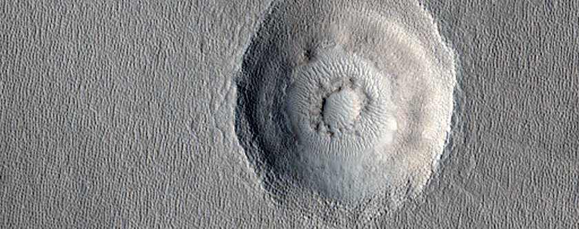 Terraced Bullseye-Like Crater in Arcadia Planitia