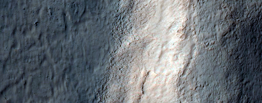 Breached Rim of South Mid-Latitude Crater and Fan-Shaped Landform