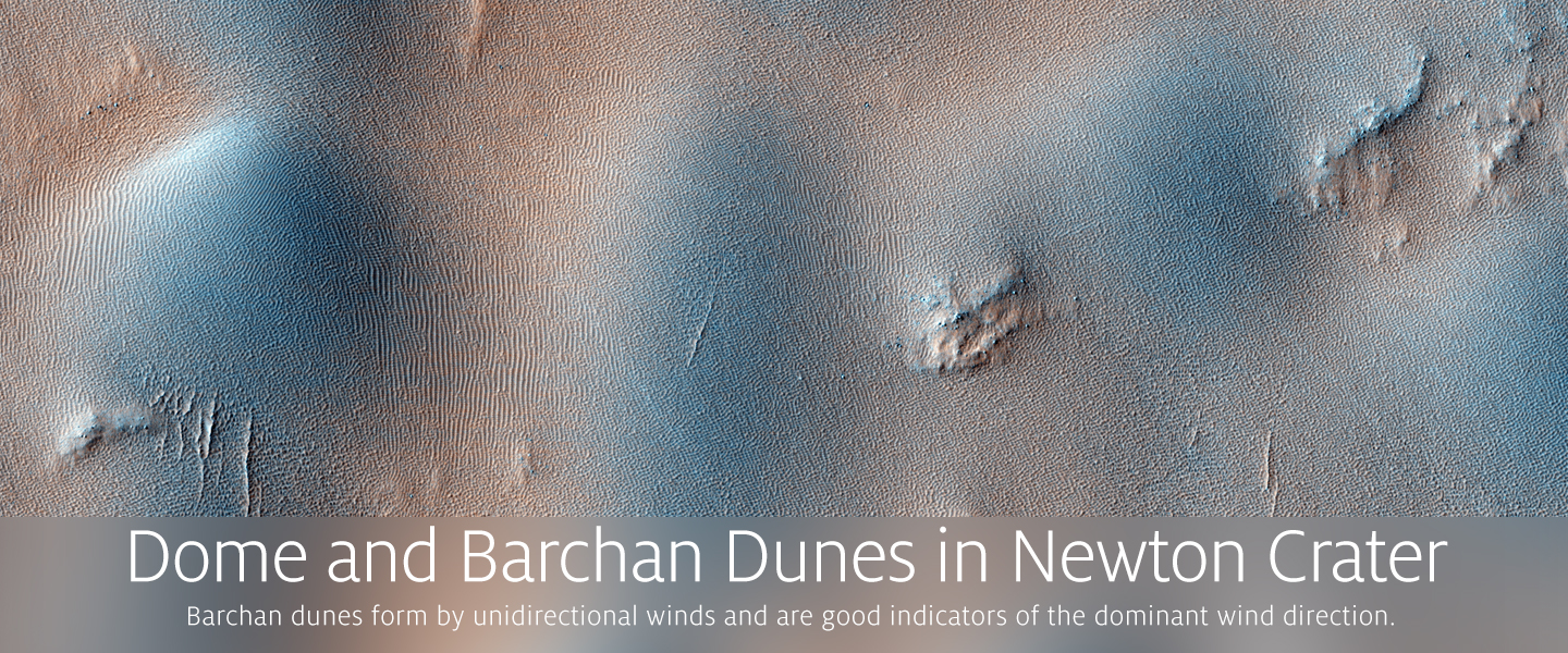 Dome and Barchan Dunes in Newton Crater