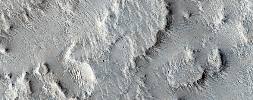 Fan and Sinuous Ridge at Base of a Wall in Eastern Gusev Crater
