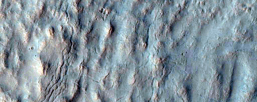 Gullies Starting at Different Heights in Same Crater Near Mariner Crater
