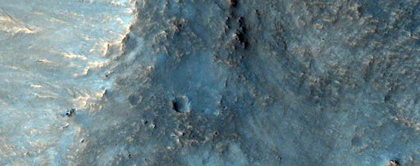 Impact Crater into Side of Massif
