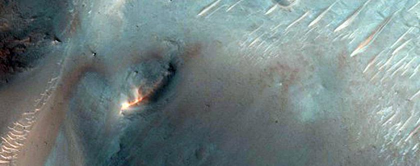 Crater-Retaining Fan-Shaped Landform in Crater in Terra Sabaea