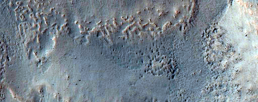 Gullies on Two Different Levels in Crater Within Copernicus Crater