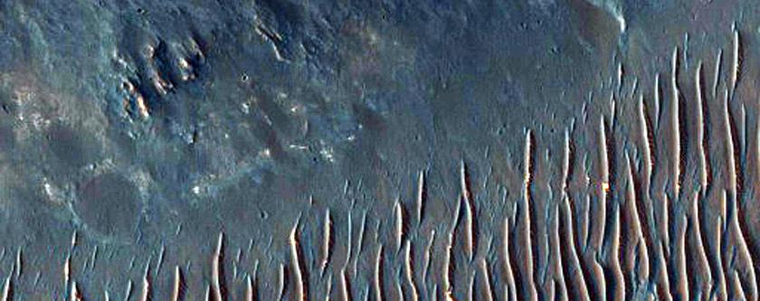 Impact Crater Near Coprates Rise