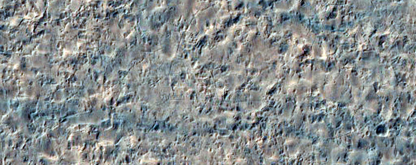 Circular Feature Proximal to Curvilinear Dark-Toned Textured Landform
