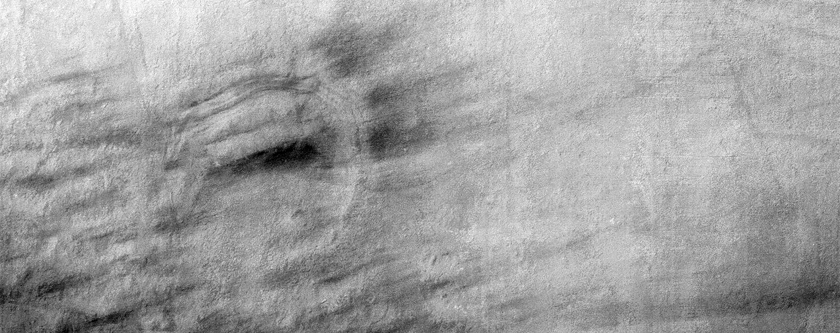 830-Meter Crater on South Polar Layered Deposits