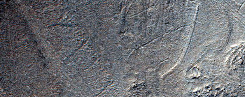 Banded Flow Terrain on Floor of Hellas Planitia