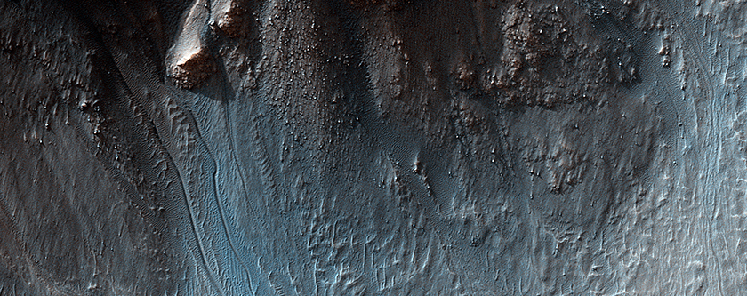 Gullies in a Central Pit Crater